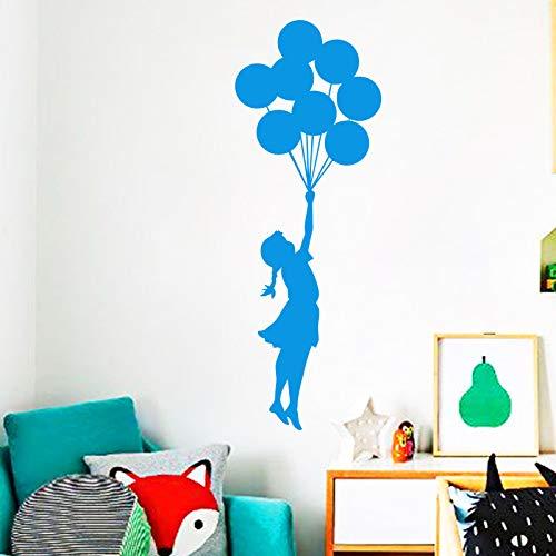 YuanMinglu Wandaufkleber Kunst Design Fliegende Luftballons Mädchen Wohnkultur Wandtattoo Vinyl selbstklebend Graffiti DIY Wohnkultur Blau 57cm x 160cm