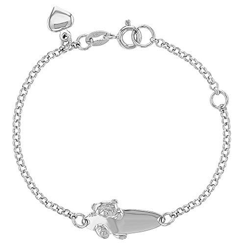 Pulsera ajustable de plata de ley 925 con diseño de oso de peluche para niños y niñas de 5 a 6 cm