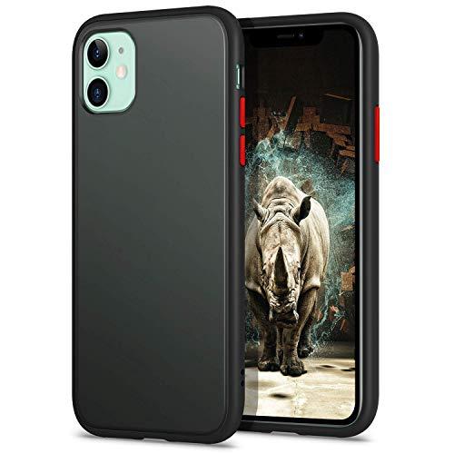 YATWIN Kompatibel mit iPhone 11 Hülle, [Shockproof Style] Matte Oberfläche Translucent PC Rückschale, TPU Weiche Rahmen Stoßfest Hardcase Handyhülle für iPhone 11-6,1 Zoll, Schwarz