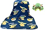 Disney Star Wars The Mandalorian The Child Baby Yoda Plush Travel Throw Blanket 40x50 inch and Big Face Costume Green Winter Hat & Glove Set, Kids Ages 2-5 Bundle Gift Set (Blue)