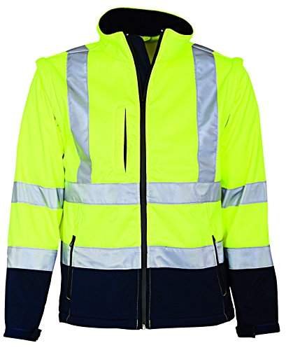 Elka Warnschutz Softshell Jacke mit abnehmbaren Ärmeln 4XL Gelb/Marineblau