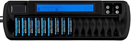 tka Köbele Akkutechnik Cargador de batería: Cargador para 16 Pilas AA (A) y 2 Bloques de 9 voltios, Pantalla LCD (Cargador Universal)