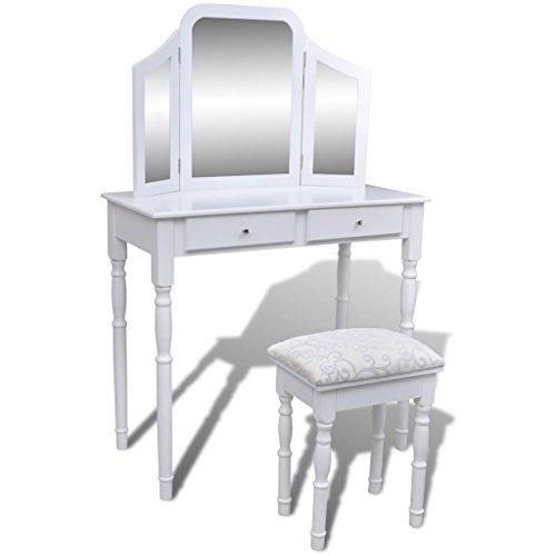 vidaXL Kaptafel met 2 lades, 3-in-1 spiegel en krukje wit