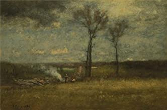 Perfect Effect Canvas ,the Best Price Art Decorative Canvas Prints Of Oil Painting 'George Inness,Brush Burning,1884', 18x27 Inch / 46x70 Cm Is Best For Basement Decoration And Home Decor And Gifts