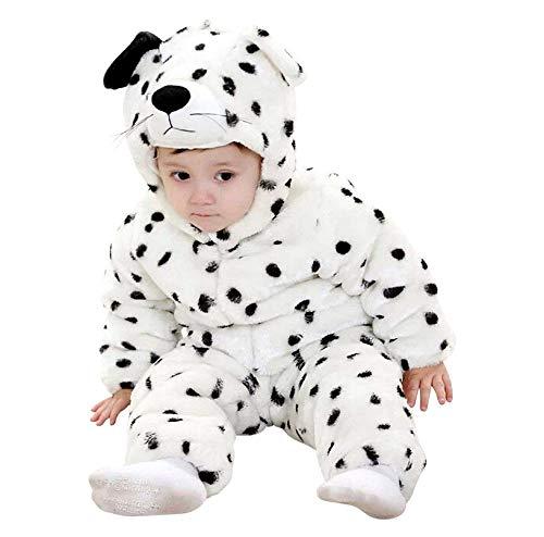 Costume Cane Dalmata - Morbido Peluche - Pile - Tuta - Tutina Bianco - Travestimento - Carnevale - Halloween - Bambina - Bambino Neonato - Cosplay - 0 - 6 mesi - Idea regalo per natale e compleanno