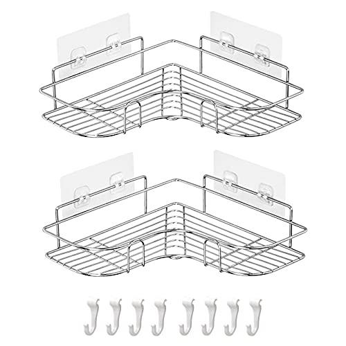 Danpix 浴室用ラック2個セット 収納ラック シャワーラック 304ステンレス鋼 取り外し可能なフック付き壁に穴を開けない コーナーラック 強力粘着固定 負荷15kg 3年間の保証 (シルバー)