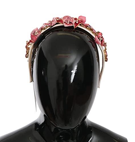Dolce & Gabbana - - All - Dolce & Gabbana Red Pink Silk Crystal Floral Diadem Tiara Headband - Default Title