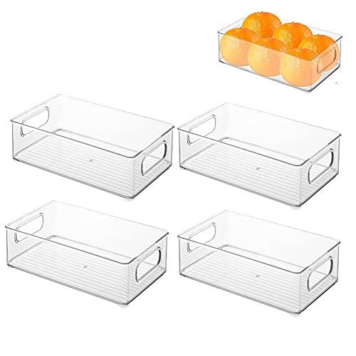 1/4PCS Caja organizadora con asas – Práctico organizador de frigorífico para almacenar alimentos – Contenedor de plástico sin BPA para mueble de cocina o nevera – transparente (4 PCS)