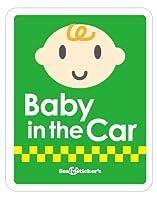 Seal&Sticker's カラフルデザインのBaby in the Car マグネットステッカー2Cserise sts-bint-2c-mg-grn(グリーン)