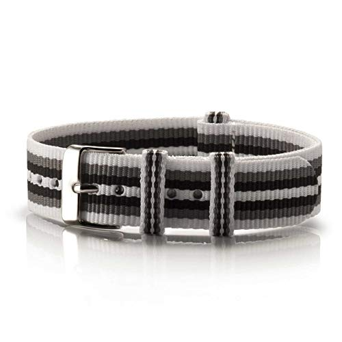 NATO Armband Textil Branco Preto weiß-grau-schwarz Silber