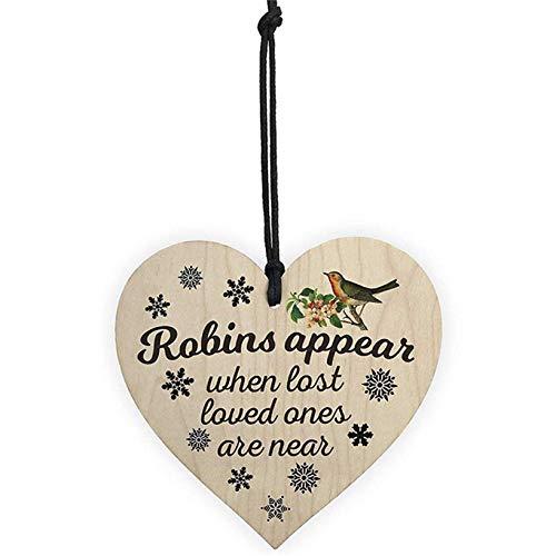 GOMYIE Herzförmiger Vogelanhänger aus Holz für die Weihnachtsdekoration
