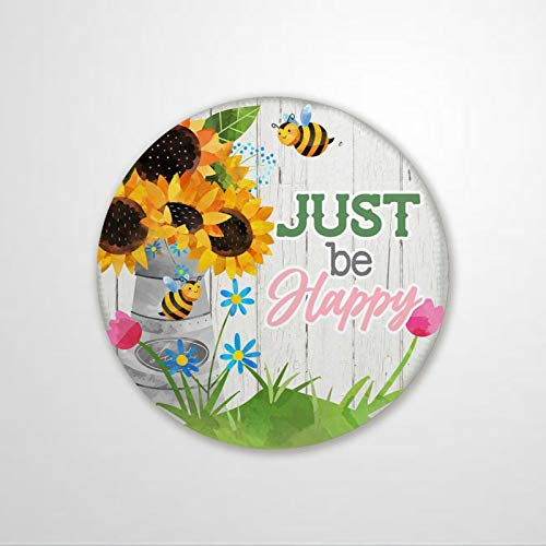 "luckluccy Letrero redondo de metal con diseño de abejorro y flores, 30,5 x 30,5 cm, diseño de abejorro con texto en inglés ""Just Be Happy Bumble Bee and Flower"""