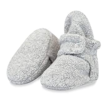 Zutano Cozie Fleece Baby Booties Unisex Baby Shoes for Infants and Toddlers 6M Heather Gray