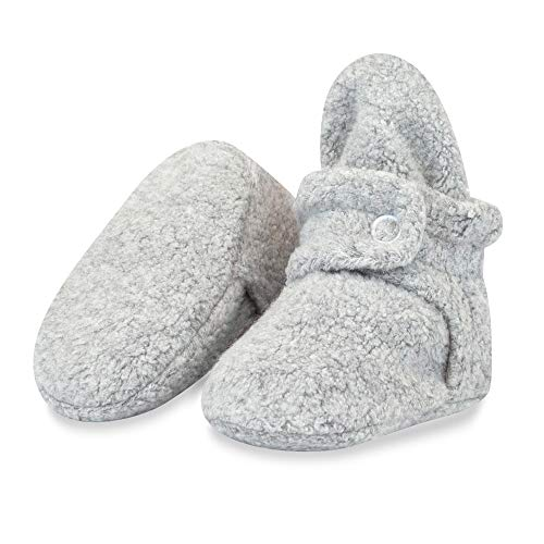 Zutano Cozie Fleece Baby Booties, Unisex Baby Shoes for Infants and Toddlers, 6M, Heather Gray