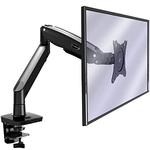 Invision Soporte Monitor de PC para Pantallas 22-35', Ergonómico Largo Brazo, Altura Ajustable (Alimentado por Gas) con Total Movimiento Inclinación y Giro VESA 75mm y 100mm Peso 3kg a 12kg (MX450)
