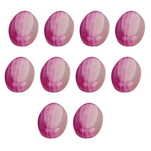 Exceart 10 Stuks Agaat Tuimelsteen Plat Edelsteen Cabochons Ovale Koepel Tegel Sticker Voor Sieraden DIY Ambachtelijke Maken Oorbel Armband (Roze) 13X18mm