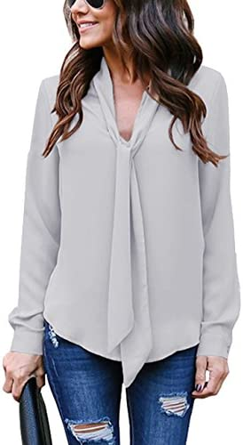 Yidarton Women s Cuffed Long Sleeve Casual V Neck Chiffon Blouses Tops with Tie Gray XXL product image