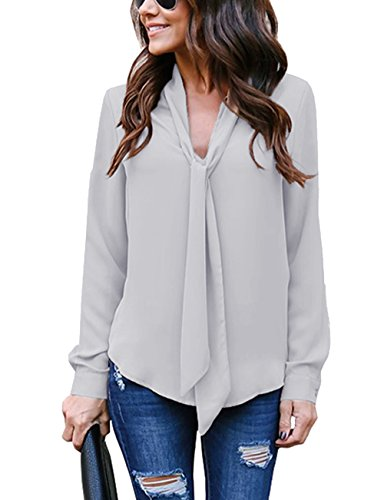 Cassiecy Damen Bluse Elegant Chiffon V-Ausschnitt Langarm Casual Oberteil Lose Langarmshirt V-Ausschnitt Vintage Tunika Hemd T-Shirt (L, Grau)
