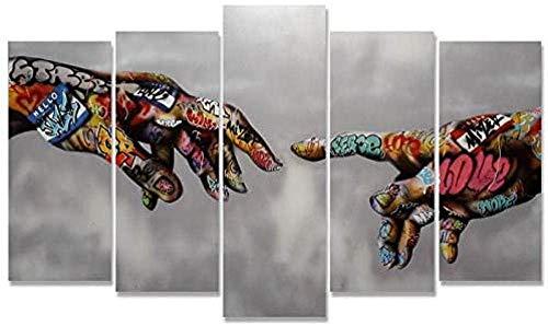 YDWD 5 Pezzi Opere d'Arte Tele Dipinti 5 Pezzi Street Art Classico Banksy Graffiti Dipinti su Tela Wall Art Adam Stampe artistiche Poster Astratto colorato Decorazioni da Parete Immagini Home Office