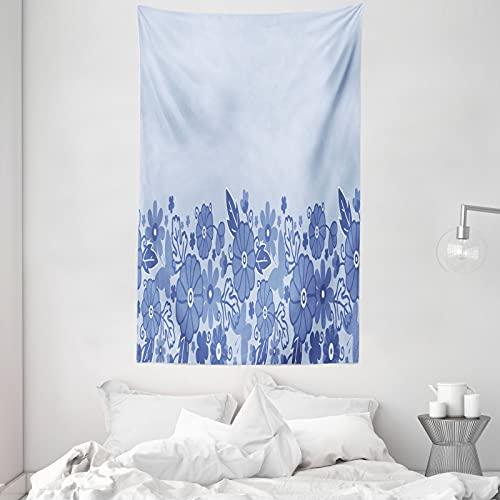 ABAKUHAUS Niederländisch Wandteppich & Tagesdecke, Delft-Art-Blumen-Blatt, aus Weiches Mikrofaser Stoff Dreck abweichender Digitaldruck, 140 x 230 cm, Ceil Blau & Hellblau