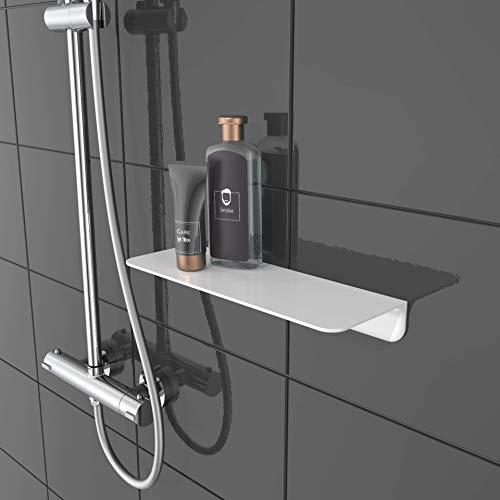 SCHÜTTE 10500 Duschablage selbstklebend Duschregal ohne Bohren Badregal Weiß Badablage zum Kleben Wandablage Bad Regal für Badezimmer