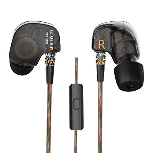 KZ ATE - Auriculares de 3,5 mm en los oídos HiFi de Metal con Aislamiento de Ruido para Auriculares estéreo de Graves Pesados para iPhone, iPad, Samsung Galaxy y más ATE Black with Micphone
