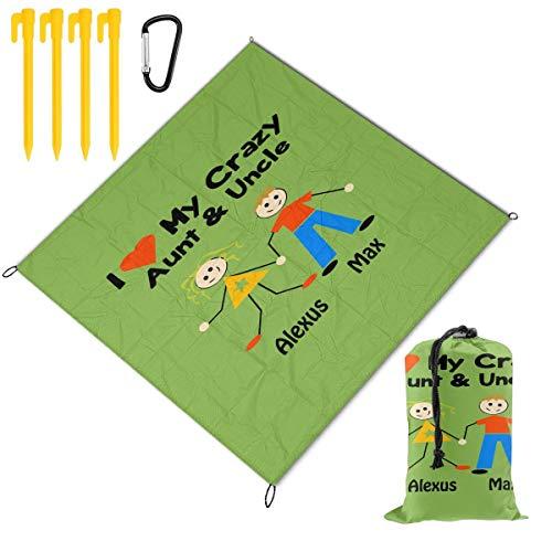 Qichuang Manta de picnic para exteriores con texto en inglés 'I Love My Crazy Aunt And Uncle' de 59 x 57 pulgadas, impermeable, con respaldo antiarena, para viajes, senderismo, camping, color negro, tamaño tamaño único