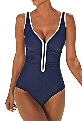 ZIYYOOHY Damen Badeanzug R/ückenfrei Einteiler Figurformed Bauchweg Monokini Bademode Bikini One Piece
