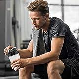 Hervidor deportivo, botella batidora a prueba de fugas, taza de agua para ejercicios, botella deportiva portátil de plástico para deportes al aire libre, gimnasio, fitness(negro)