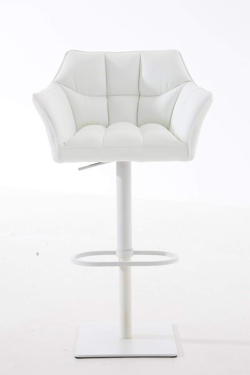 CLP Barhocker DAMASO mit Kunstlederbezug und hochwertiger Polsterung I Barstuhl mit Lehne I Höhenverstellbarer Tresenstuhl mit Fußstütze, Farbe:weiß,