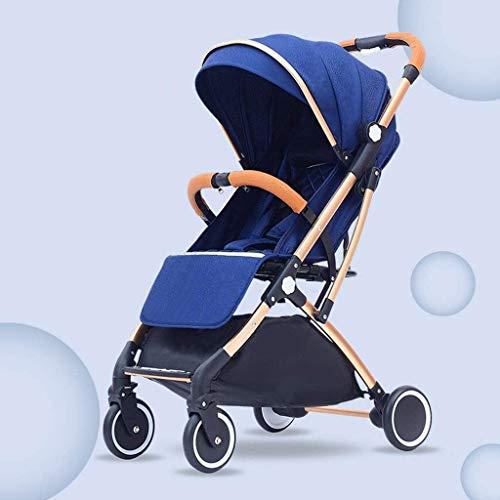 TOKUJN Cochecito de Cochecito de Lujo. Carro de bebé para bebés, Cochecito de Jogger Cochecitos compactos con cochecitos, arnés de 5 Puntos y Alta Cesta de Almacenamiento (Color : Blue)
