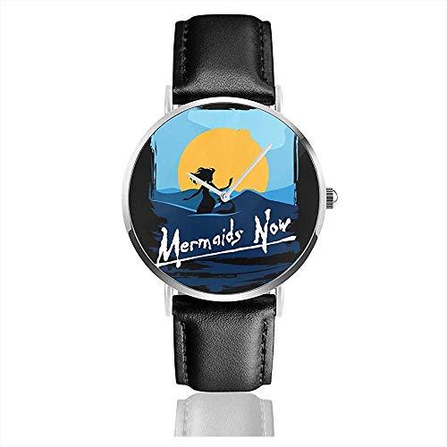 Unisex Business Casual Meerjungfrauen Jetzt Apokalypse Jetzt Uhren Quarz Leder Uhr