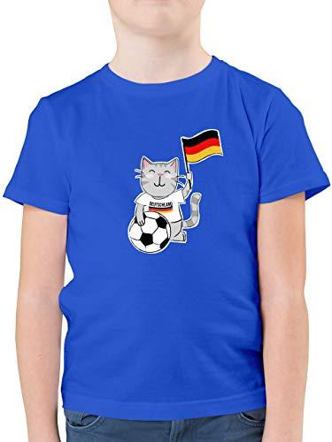 Fußball-Europameisterschaft 2020 Kinder - Fußball Katze Deutschland - 128 (7/8 Jahre) - Royalblau - F130K - Kinder Tshirts und T-Shirt für Jungen