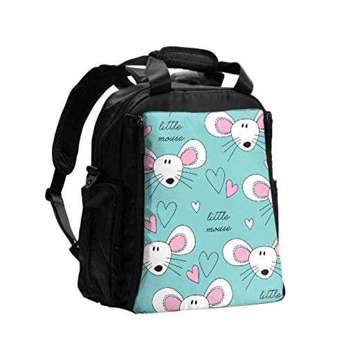 Diaper Changing Bags Little Cute Mouse Carton Hand Drawn Diaper Backpack Nappy Bag Multifunction Travel Backpack with Diaper Changing Pad for Baby Care