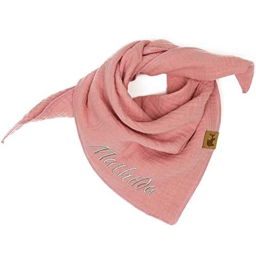 Halstuch rosé rose altrosa rosa Musselintuch Musselin Kinder Kinderhalstuch Baby Junge Mädchen Dreieckstuch Wunschfarbe personalisiert mit Name bestickt handmade Spucktuch Schal Tuch
