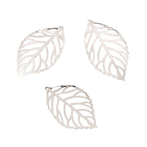 100 Stü Hohl Charms Blatt Blätter Charms Anhänger Metall Laminat Dekoration - Weiß