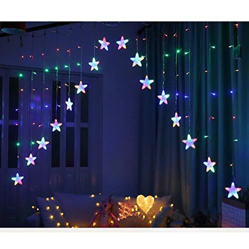 Ying3 MtWeihnachtsbeleuchtung220 V Romantische Fairy Star LED Vorhang String Beleuchtung für Zuhause Schlafzimmer Hochzeit Girlande Party Dekoration, veränderbar