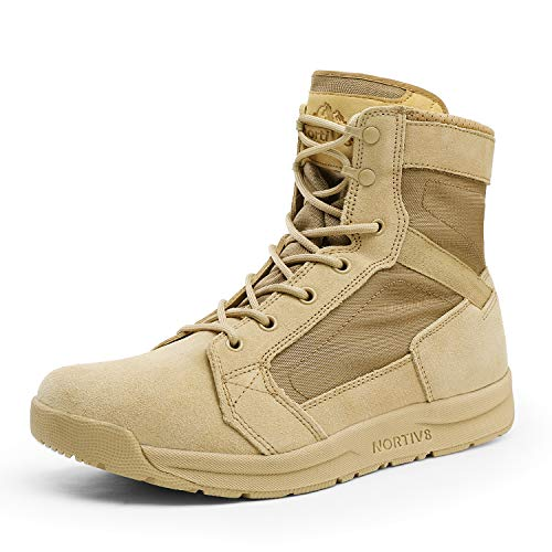 NORTIV 8 Men's Military Tactical Combat Boots Breathable Lightweight Desert Leather Outdoor Summer Work Boots Sand Size 9 US Delta-Low