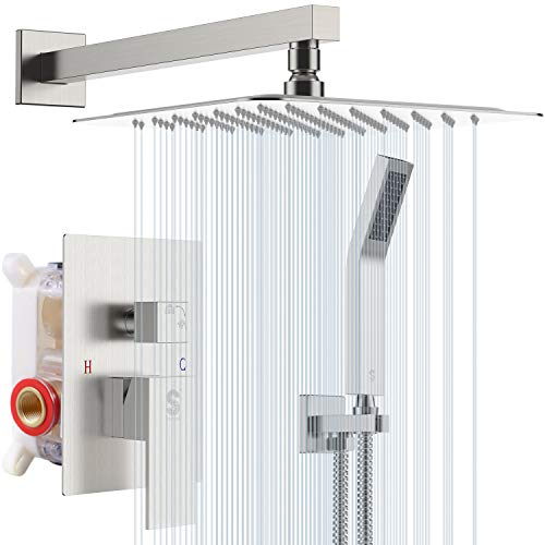 SR SUN RISE 12 Inches Bathroom Luxury Rain Mixer Shower Combo Set Wall Mounted Rainfall Shower Head...