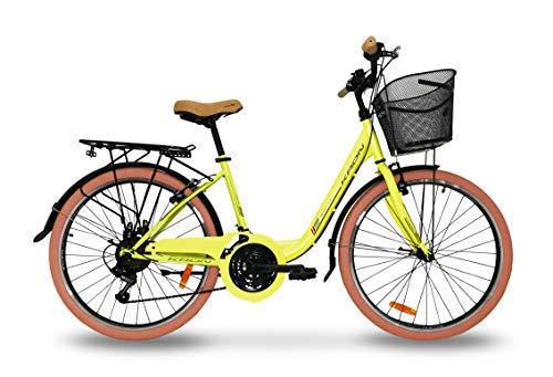 Bici donna 26'' bicicletta kron tetra 3.0 24'' city bike rosa cambio shimano 21v (24'', Giallo)