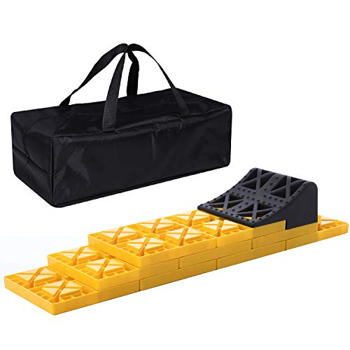 Homeon Wheels RV Leveling Blocks, One Top Tire Wheel Chock and 9 Pack Interlocking Leveling Blocks with Carrying Bag, Heavy Duty Camper Leveling Blocks and Chocks Anti-Slip Pads Design (WH-302)