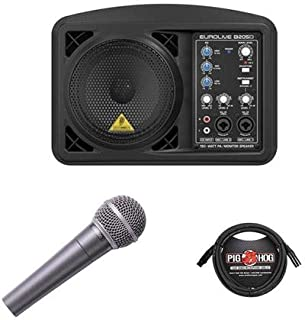 Behringer Eurolive B205D Multi-purpose 150 Watt Active PA and Monitor Speaker System - Bundle With Behringer ULTRAVOICE XM8500 Cardioid Vocal Microphone, 15' 8mm XLR Microphone Cable