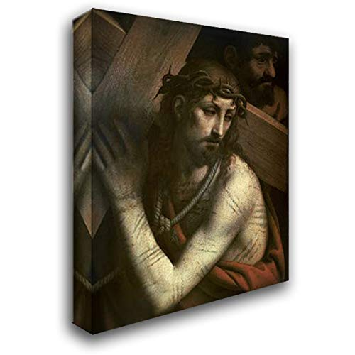 Luini, Bernardino 18x24 Gallery Wrapped Stretched Canvas Art Titled: Museumist Bearing His Cross