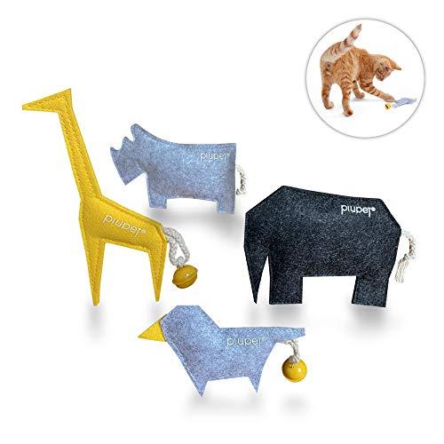 PiuPet® Katzenspielzeug mit Katzenminze - 4er Set Katzen Spielzeug - Stylische Katzenminze Kissen (4er Set)