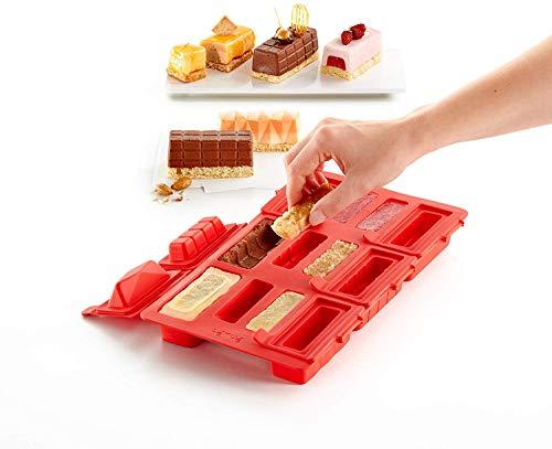 Lékué Molde para elaborar Mini Pasteles de Mousse, Silicona, Rojo