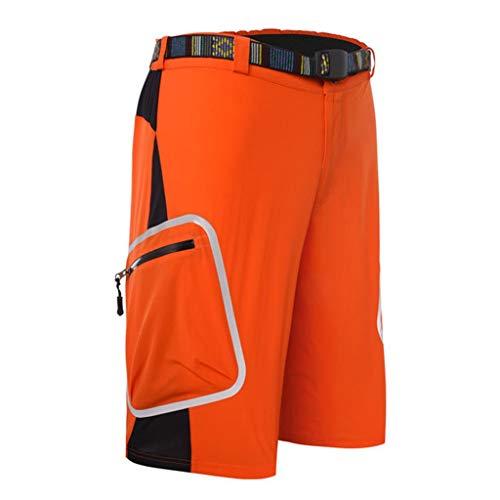 QINJLI MTB fietsbroek ademend en sneldrogend veiligheid ritszak reflecterende strepen elastische taille outdoor vrije tijd zomer mannelijk joggingbroek vissen wandelen X-Large A
