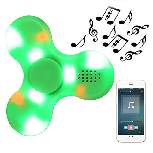 Kivors LED Light Fidget Spinner, Clear Led Crystal Hand Spinner Stress Release EDC Toys with Wireless Speakers for Children Adults