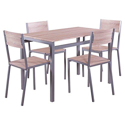 MACOShopde by MACO Möbel Esstischgruppe 5 Teile Sitzgruppe mit 4 Stühlen und Esstisch 110 x 70 cm in Holz Dekor, Essgruppe, Tischgruppe