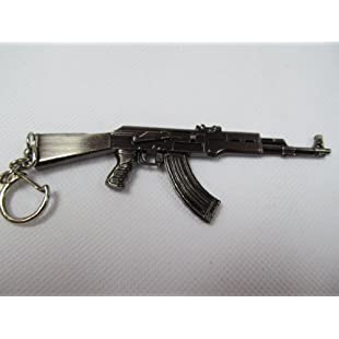 Collectable mens boys metal model AK47 Kalashnikov assault rifle gun scale pendant keyring 11.5cm - posted from London by Fat-catz