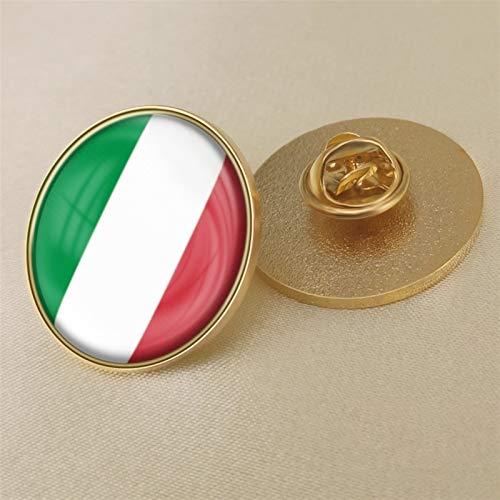 YYOBK Insignia De Bandera Italiana, Botones De Novedad para Hombre, Broches, Alfileres, Bandera Redonda, Pin, Insignia De Pin, Cobre, 25.4mm (Color : 1PCS, Size : 25.4mm)
